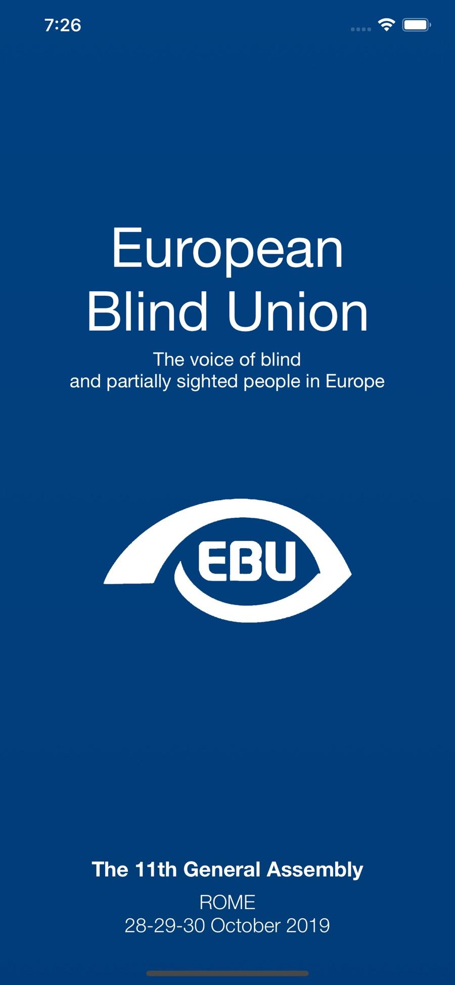 Splash screen dell'app EBU