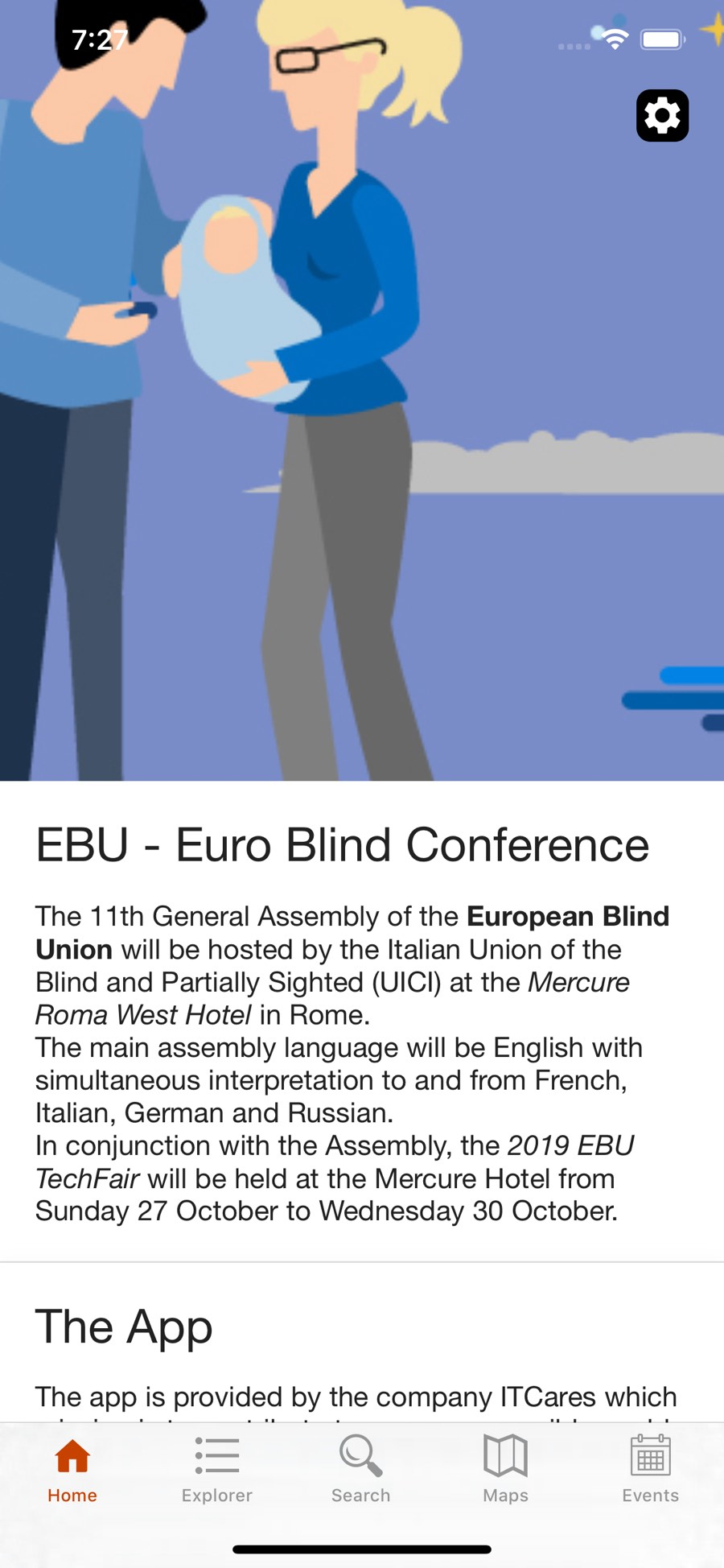 Schermata principale dell'app EBU