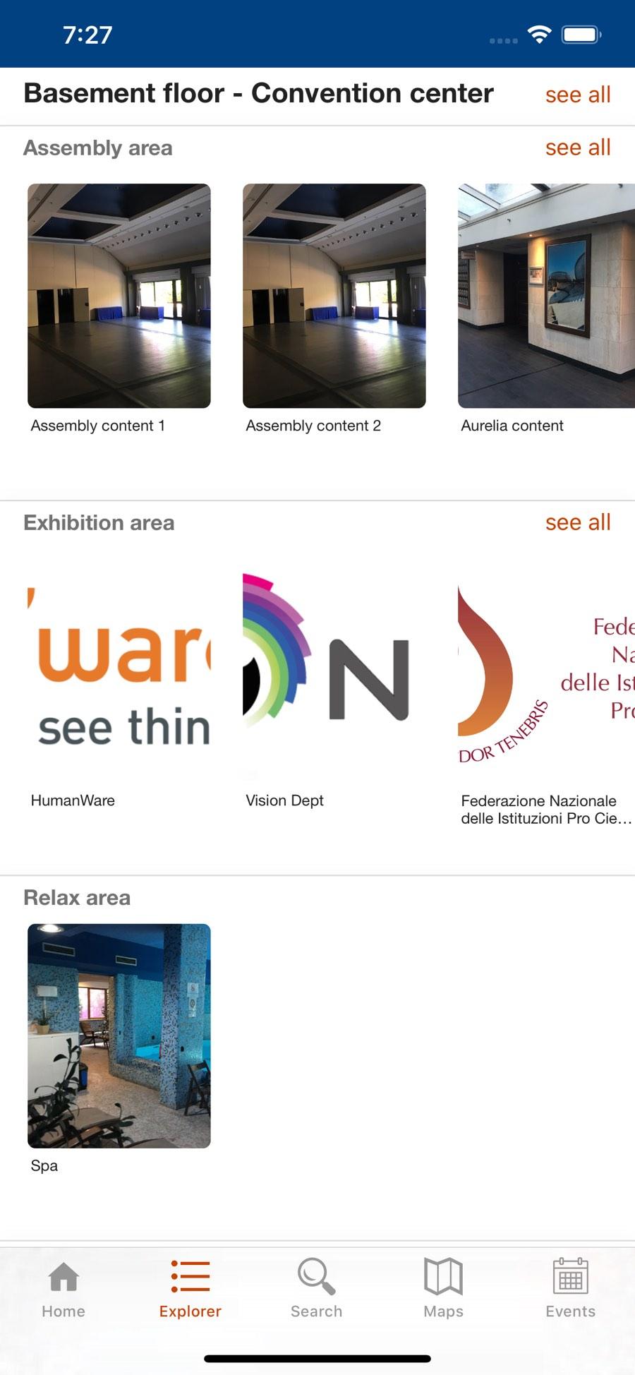 Schermata explorer dell'app EBU