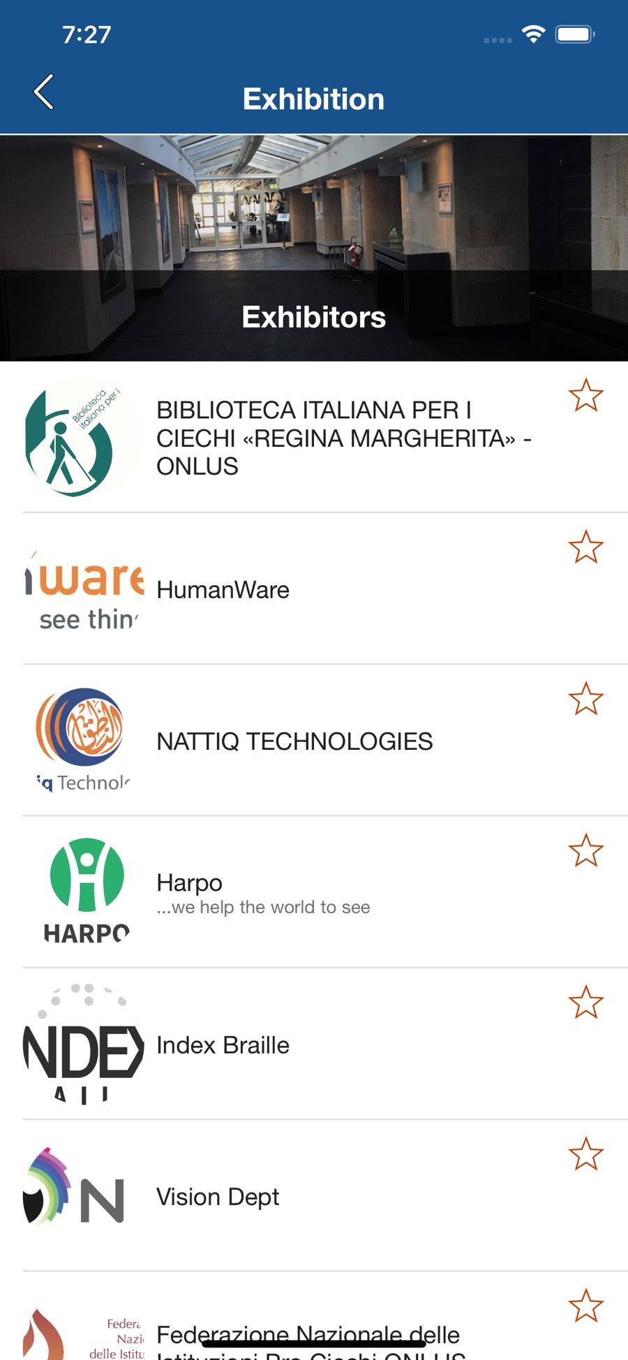 Schermata dettaglio espositori dell'app EBU