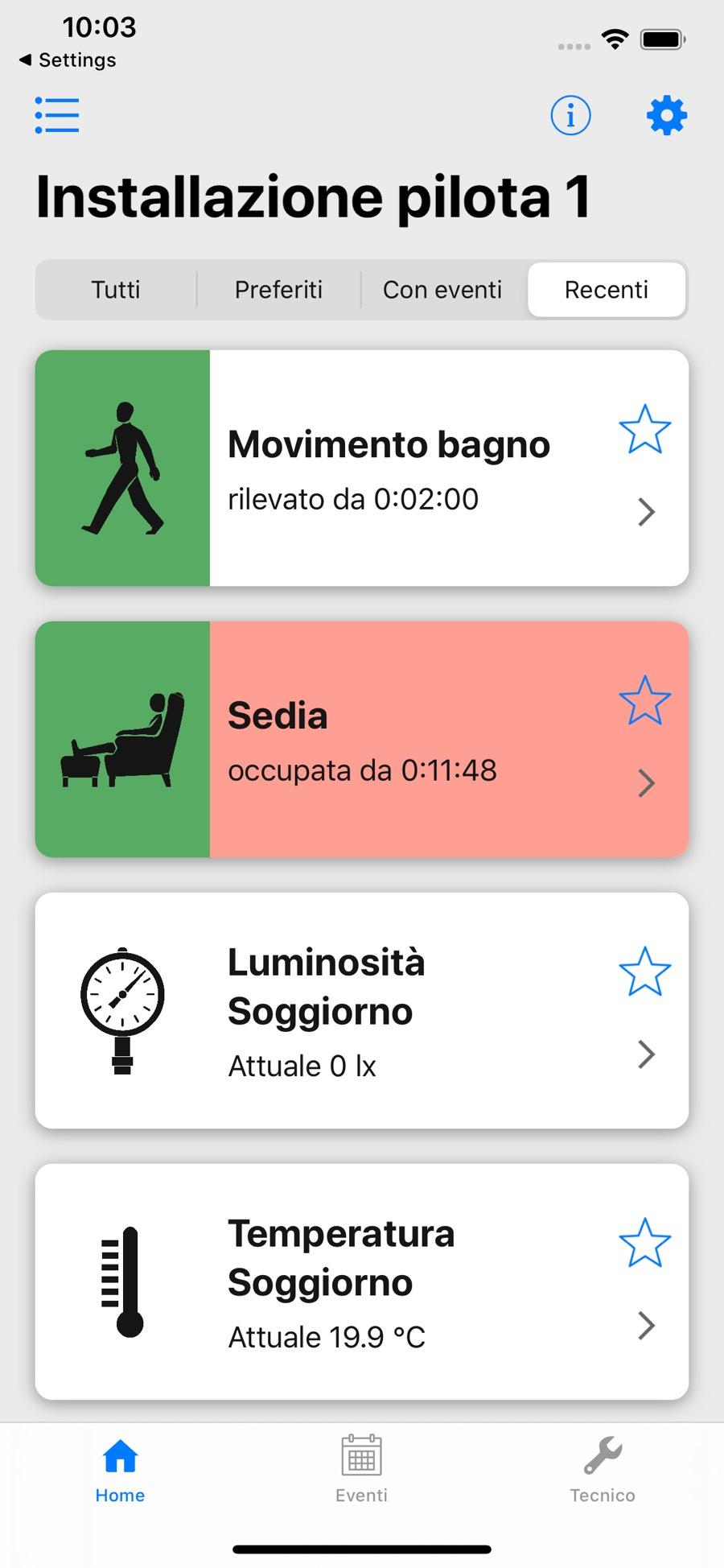 Schermata principale dell'app WimHome
