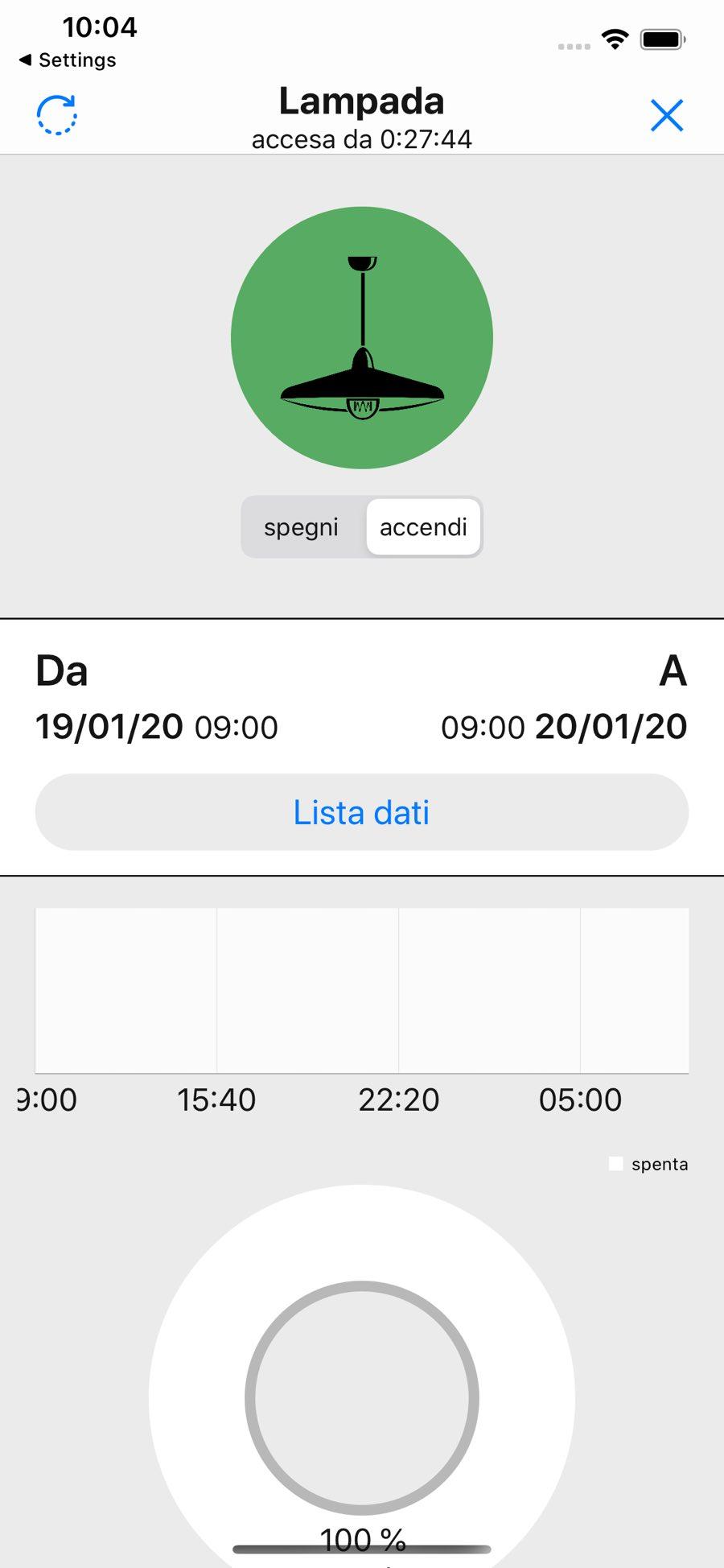 Schermata dettaglio dispositivo lampada dell'app WimHome