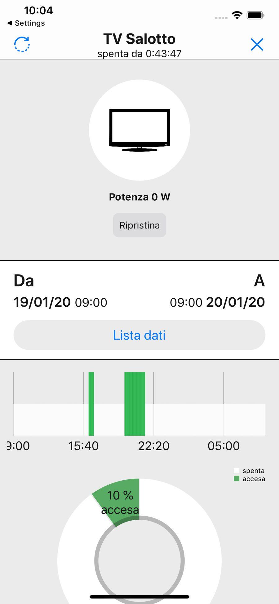Schermata dettaglio dispositivo dell'app WimHome